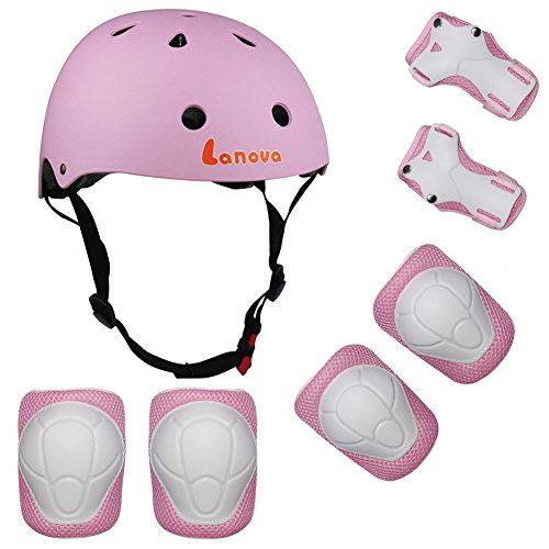 Lanova Kids Adjustable Sports Protective Gear Set Safety Pad Safeguard (Helmet Knee Elbow Wrist) Roller Bicycle BMX Bike Skateboard Hoverboard and Other Extreme Sports Activities (Pink) (Bicycle Roller)