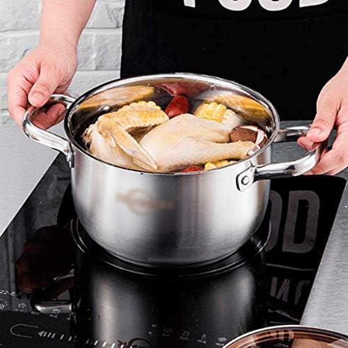 ZLJ Marmite à Lait en Acier Inoxydable avec Couvercle Marmite à Soupe antiadhésive sans Danger pour l'induction Marmite à Lait Casserole à thé, 20 cm