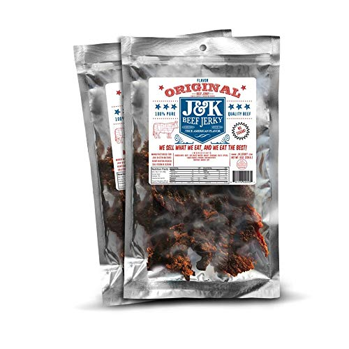 J&K Beef Jerky Original Flavor No Sugar 8oz 2 Pack   Real Premium Smoked Beef with Double Tenderness   Sugar Free, Low Carbs, High Protein   Paleo & Keto Friendly ● Sourced & Made in California, USA