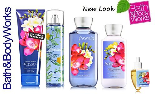 Bath & Body Works FREESIA Gift Set - Body Lotion - Body Cream - Fragrance Mist & Shower Gel + FREE Wallflowers Fragrance Refill