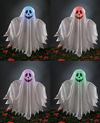 Fun World Halloween Decoration Ghost Grave Ground Breaker Light Up Color Changing Prop
