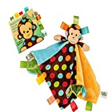 Mary Meyer Taggies Character Blanket and Soft Book Set for Newborn, Infant or Toddler Boys and Girls (Monkey)