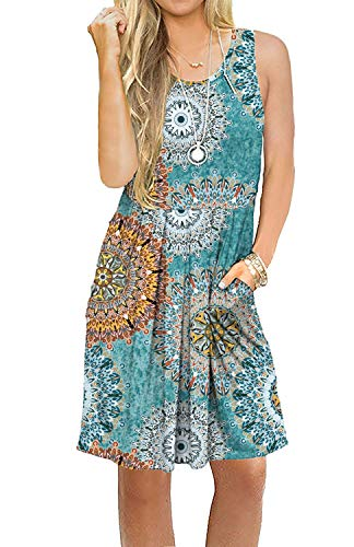 AUSELILY Women's Sleeveless Pleated Loose Swing Casual Dress with Pockets Knee Length (XS, 01Print Green) ()
