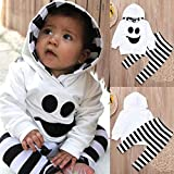 Ankola Toddler Clothes Set 2 Pcs Baby Kids Hooded Clothing Cartoon Printed T-Shirt Top with Striped Long Pants Clothes (4T, White)