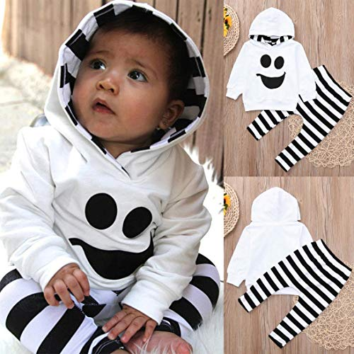 Ankola Toddler Clothes Set 2 Pcs Baby Kids Hooded Clothing Cartoon Printed T-Shirt Top with Striped Long Pants Clothes (4T, White) by Ankola