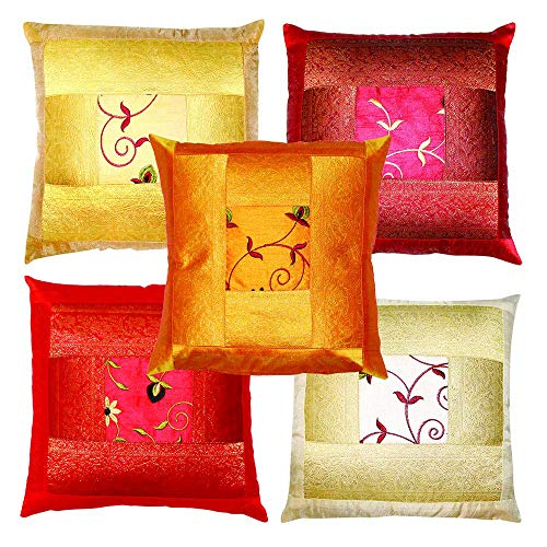 Indian Ethnic Hand Embroidery Decorative Silk Pillow Cushion Cover Set of 5 Pcs Size 16 X 16 Inches ()