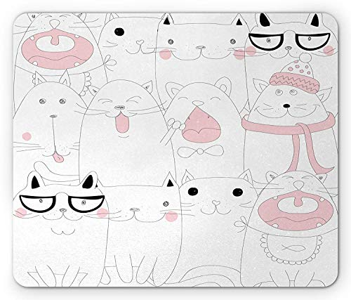Kitten Mouse Pad, Many Faced Bunch of Happy Sad Sleepy Sassy Cat Caricature Kids Nursery Theme, Standard Size Rectangle Non-Slip Rubber Mousepad, White Pale Pink,8.66 x 7.08 x 0.118 - Sassy Pad Lily