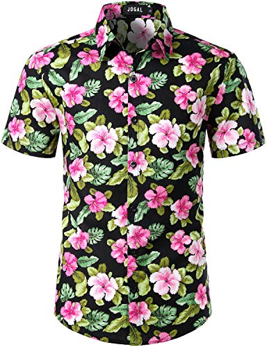 Black Floral Shirt - JOGAL Men's Cotton Button Down Short Sleeve Hawaiian Shirt (Black Floral, Small)