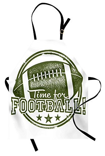 Lunarable Boy's Room Apron, Vintage Old Grunge Rubber Stamp with Time for Football Quote and Stars, Unisex Kitchen Bib Apron with Adjustable Neck for Cooking Baking Gardening, Olive Green (Football Star Bib)