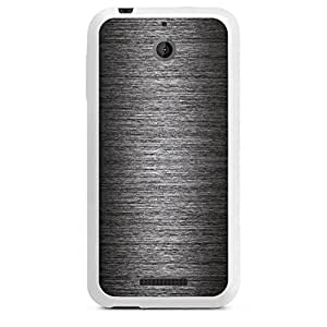 Funda de silicona HTC Deseo 510 blanco - metal look - antracita