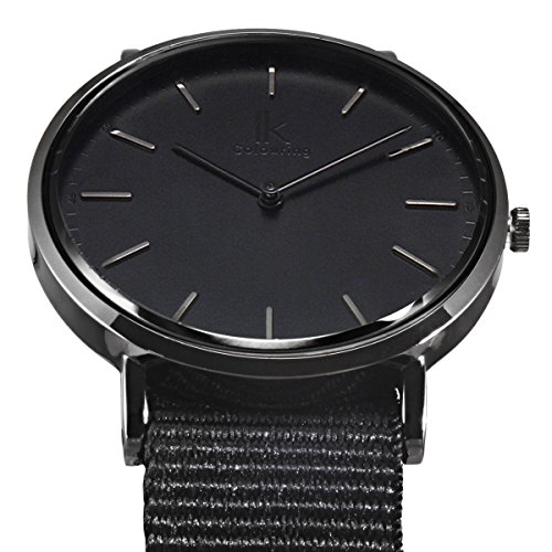 Alienwork Reloj Unisex Relojes Mujer Hombre Nylon Negro Analógicos Cuarzo Impermeable Ultra-Delgada Clásico: Amazon.es: Relojes