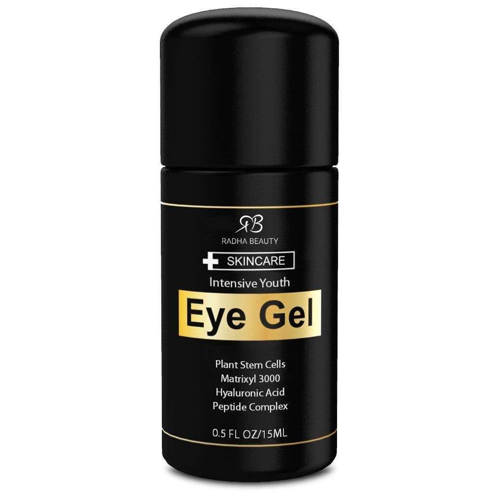 Radha Beauty Eye Cream for Puffiness, Dark Circles, Wrinkles and Bags - The Most Effective Eye Gel for Every Eye Concern - All Natural Ingredients - 0.5 fl oz by Radha Beauty