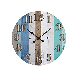 Creative Co-op DA5834 Multicolor Wood Wall Clock with Corrugated Metal Numbers