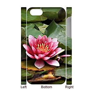 3D Vety Red Lotus Resting on the Pond Case for IPhone 4/4s, with White
