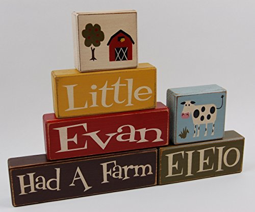 Eieio Farm - Personalized Name-Primitive Country Wood Stacking Sign Blocks Nursery Big Boy Farm Room Decor-Had A Farm EIEIO-Farmer Kids Decor
