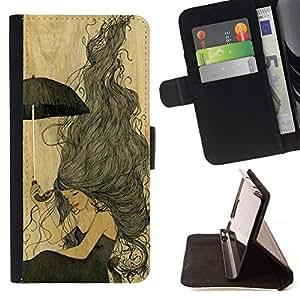 Momo Phone Case / Flip Funda de Cuero Case Cover - Vintage pergamino Chica Amarillo - LG G2 D800