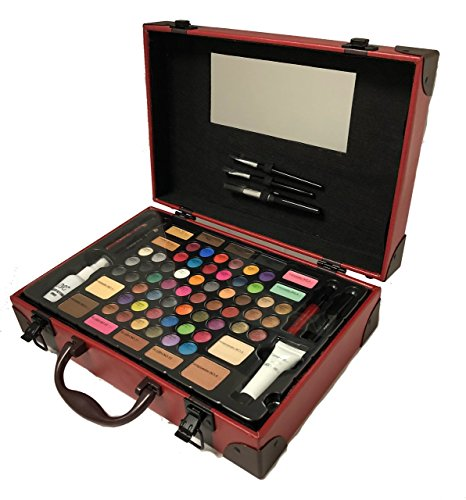 BR Carry All Trunk Professional Makeup Kit - Eyeshadow, Eyeliner, Lip Stick All In One Clear Case (RedCase)
