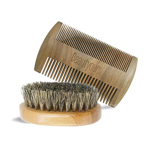 Beard Comb & Beard Brush Kit with carring bag for...
