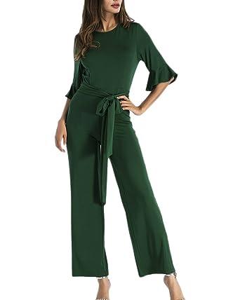 83e9651e71c6b Gladiolus Tuta Donna Elegante Jumpsuit Lungo Pagliaccetti Puro Colore Tute  Manica Lunga Festa Party Tutine Intere Pantaloni Verde Scuro XL  Amazon.it   ...