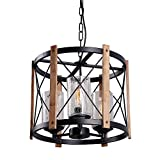 Eumyviv C0030 3-Lights Circular Wood Metal Pendant Lamp Light Fixture with Glass Shade Black Finished Retro Rustic Vintage Industrial Edison Ceiling Lamp Chandeliers