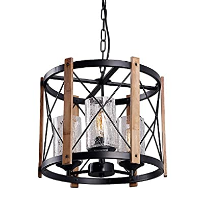 """Eumyviv C0030 3-Lights Circular Wood Metal Pendant Lamp Light Fixture with Glass Shade Black Finished Retro Rustic Vintage Industrial Edison Ceiling Lamp Chandeliers - MATERIAL: Metal, wood and crack glass with strong wires. Not only wood circular chandelier pendant lighting but also decoration for your house. DIMENSIONS: Adjustable metal chain with a 73"""" max height. Canopy is 5"""" in diameter. Features a 15.5"""" (L) * 15.5"""" (W)* 13"""" (H) metal&wood frame. SPEC: Fits E26 edison vintage bulbs (Bulbs not included), hard wired corded electric, 110-220V, 60W maximum power. - kitchen-dining-room-decor, kitchen-dining-room, chandeliers-lighting - 51Gbd5GXsvL. SS400  -"""