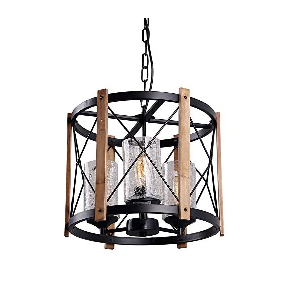 "Eumyviv Wood Farmhouse Rustic Chandelier with Crack Finish Glass Shade, 3 Lights Vintage Industrial Hanging Light for Dinning Room, C0030 - 🌞 QUALITY MATERIALS: Oak wood, black metal with crack Finish glass. Bring an earthy sensibility to light and complement a modern, traditional and many other styles. 🌞 DIMENSION: Lamp body 15.5""D*13""H. Adjustable chain 59"". Canopy 5"". This indoor round drum lamp blends antique and modern styles to complement any decors and last for years to come. 🌞 SPEC: E26 base edison bulb or halogen, incandescent, LED, CFL(Bulb not included), hard wired, 110-220V, 60W max. Fully dimmable when used dimmable bulb and a compatible dimmer switch. - kitchen-dining-room-decor, kitchen-dining-room, chandeliers-lighting - 51Gbd5GXsvL. SS570  -"