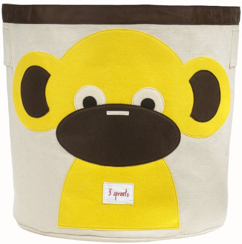 3 Sprouts Canvas Storage Bin - Laundry and Toy Basket for Baby and Kids ()