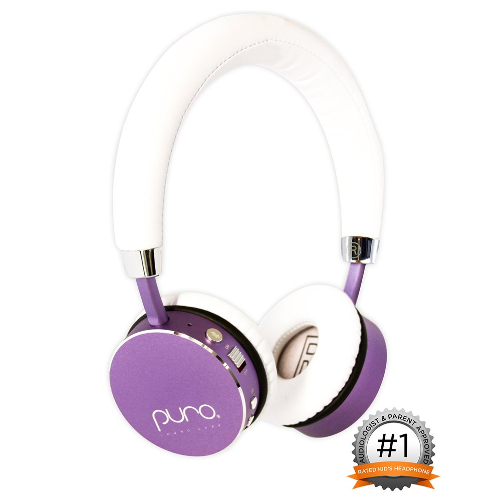 Puro Sound Labs BT2200 Over-Ear Headphones Lightweight Portable Kids Earphones with Safe Wireless, Volume Limiting, Bluetooth and Noise Isolation for iPhone/Android/PC/Tablet - BT2200 Purple