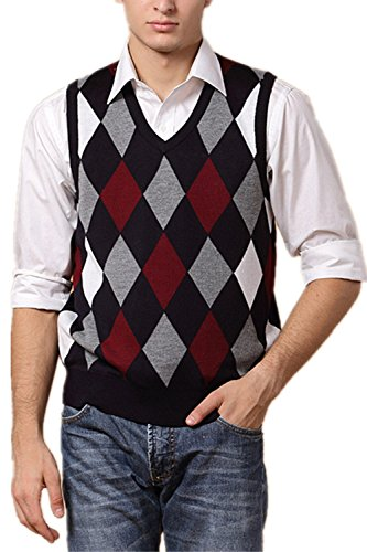 Red Argyle Sweater Vest - 9