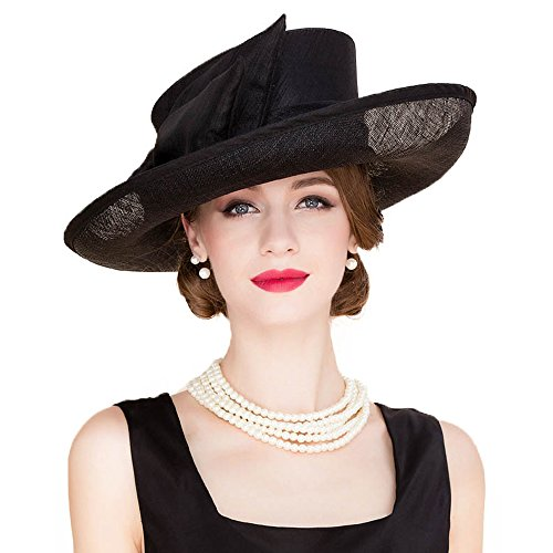 Wedding Bowknot Hat Church Fedora Women Large Wide Sinamay Kentucky Derby Hats