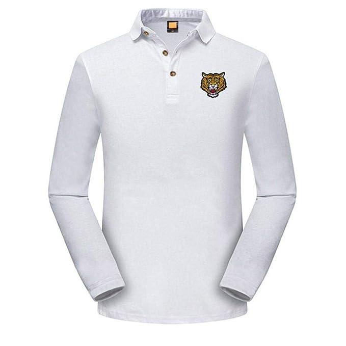 Yvelands Polo de los Hombres Hombres cómodos Guapo Slim Fit Camiseta Amarillo Tiger Bordados de Manga Larga Polo Top Blusa Camisas de Estilo británico, ...