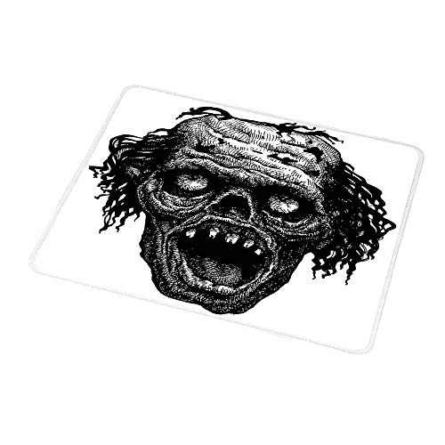 Gaming Mouse Pad Custom Design Mat Halloween,Zombie Head Evil Dead Man Portrait Fiction Creature Scary Monster Graphic,Black Dark Grey,Non-Slip Rubber Mousepad 9.8