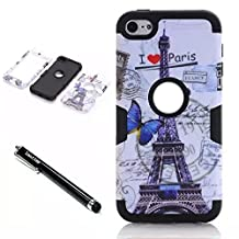 iPod Touch 6th Generation Case,Lantier 3 Layers Verge Hybrid Soft Silicone Hard Plastic TUFF Triple Quakeproof Drop Resistance Protective Case Cover Stylus Butterfly Post Card Pairs Tower/Black
