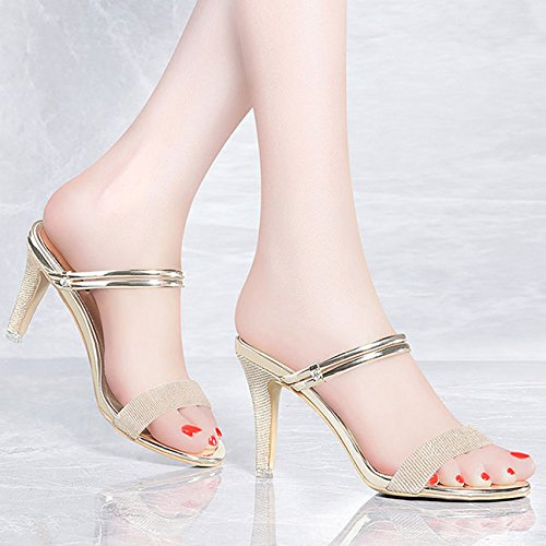 Moda Espumosos Dulces Sandalias Altos Tacones Gold wtPExIAq