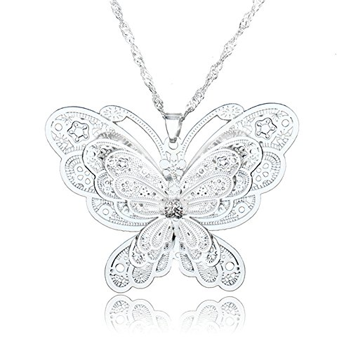 (Silver Plated Butterfly Vintage Filigree Crystal Pendant Necklace)