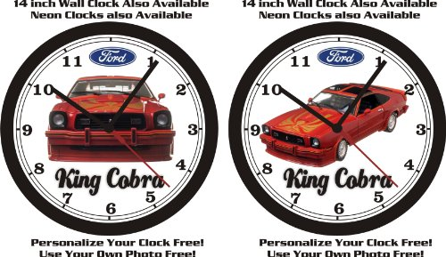 1978 FORD MUSTANG II KING COBRA RED WALL CLOCK-FREE USA SHIP-CHOOSE 1 OF 2