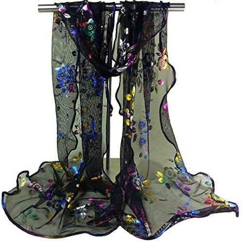 TRENTON Women's Floral Embroidered Lace Scarf Long Soft Sheer Wrap Shawl Stole