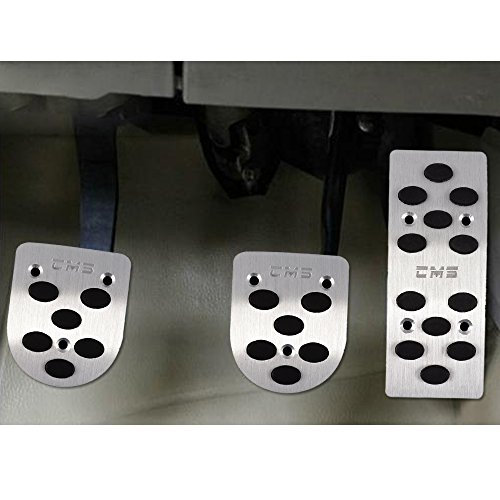 Aumo-mate 3pcs/set Auto Manual Car Gas Brake Metal Pedal Non-slip Covers At Pedals Pads Silver Tone (Brake Mate)