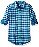 The Children's Place Big Boys' Gingham Double-Roll Shirt, Island Aqua Neon, S (5/6)