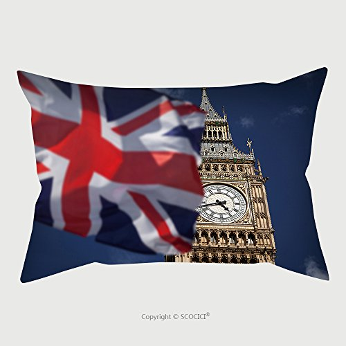 Custom Microfiber Pillowcase Protector British Union Jack Flag And Big Ben Clock Tower At City Of Westminster In The Background Uk Votes To Leave The Eu_114431572 Pillow Case Covers Decorative (Union Jack Futon)