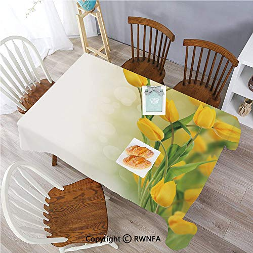- Rectangle Polyester Tablecloth Romantic Tulip Bouquet Famous Plant of Netherlands Botanical Theme Spill Proof Table Cover for Home and Kitchen 55x102 Inch Oblong Mustard Fern Green
