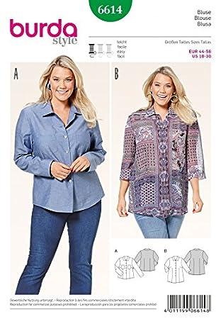 Burda Damen Plus Größe Easy Schnittmuster 6614 Shirts & Blusen ...