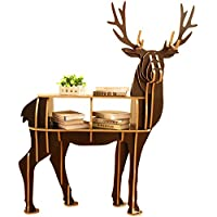 OLizee Stylish 43.3 Wooden Deer Storage Shelf Side Table Home Decor-Assembly Required(Turn Head,Brown)