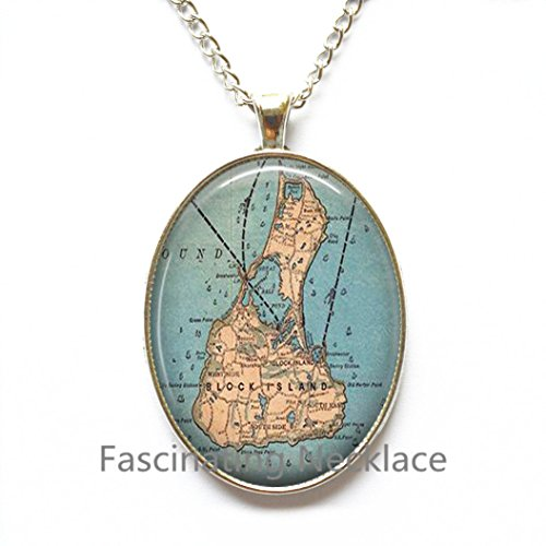 Charming Necklace,Block Island map Necklace, Block Island Necklace, Block Island map Pendant, Block Island Pendant, A0284