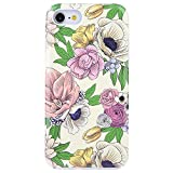 Dimaka Case for iPhone 8 Case, iPhone 7 Case, Flower Floral Design Cute Case 2 Layers, Protective High Impact Case (153)