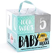 Ultimate Baby Milestone Age Photo Blocks | The Only Wooden Double Set for Lifetime - Week, Month, Year Pictures, Bonus Quotes | Unique Baby Shower Gift | Neutral Photo Sharing Prop (for Boy or Girl)