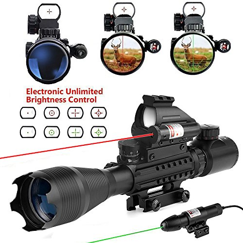 Best Review Of Uboo 4 in 1 Tactical Rifle Combo Scope 4-16x50EG Dual Illuminated Holographic 4 Retic...