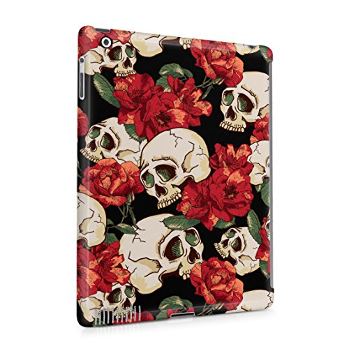 Grunge Skeleton Skulls Pattern Roses Wildflower Floral Hipster Plastic Tablet Snap On Back Case Cover Shell For iPad 2 & iPad 3 & iPad 4