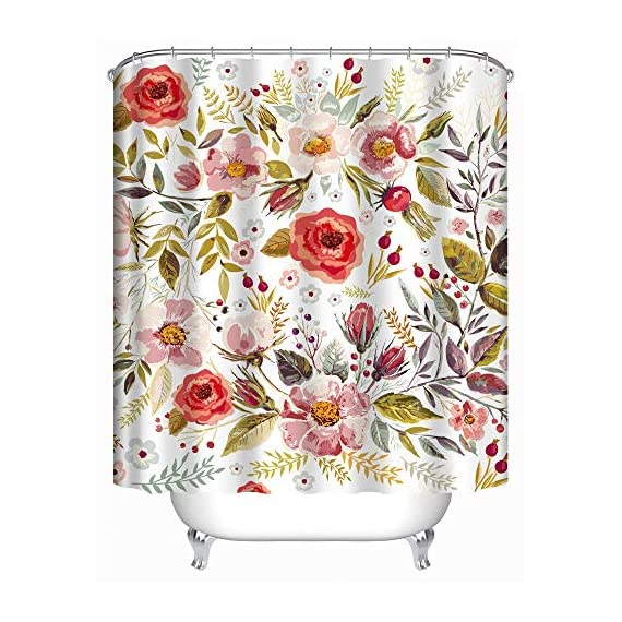 Uphome Floral Fabric Shower Curtain, Waterproof Colorful Chic Rose Flower Bathroom Polyester Shower Curtain for Bathtub Showers, 72x72 - 【Durable Fabric】 This polyester shower curtains crafted with made of heavy duty fabric ensures long-lasting use and elegant floral design fresh color easy to update bathroom decor theme 【Raincoat Waterproof Technology】 This flower shower curtain is water repellent. It features raincoat waterproof technology which allowed water to easily glide off and resist soaking, work perfectly without a liner. 【Quality Construction】This colorful shower curtain constructed reinforced rustproof metal grommets for easy hanging. 12 strong plastic hooks, easy maintainance, Just toss it in the washing machine tumble dry low, the Color will stay nice and vibrant for years. - shower-curtains, bathroom-linens, bathroom - 51GbflxF6KL. SS570  -