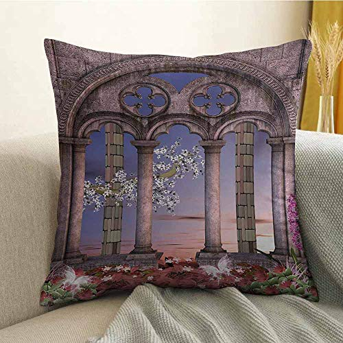 - Gothic Microfiber Ancient Colonnade in Secret Garden with Flowers at Sunset Enchanted Forest Sofa Cushion Cover Bedroom car Decoration W16 x L16 Inch Grey Blue Lilac Red